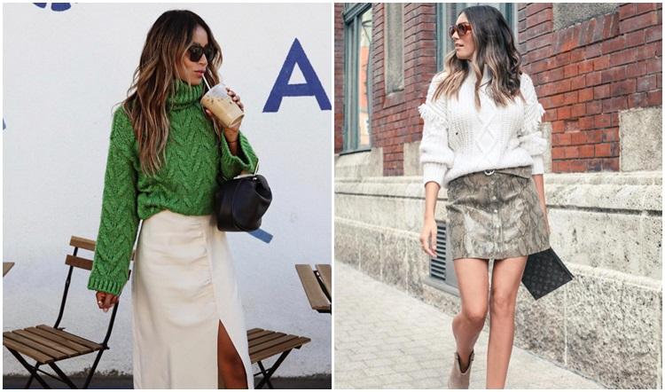 Toplo pletivo i suknja omiljena su kombinacija poznatih Instagram djevojaka